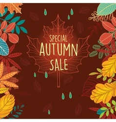 Autumn sale poster with leaves vector image