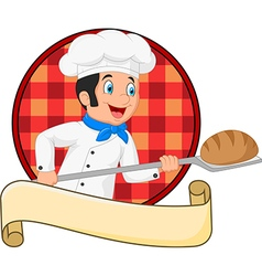 Cartoon baker holding bakery peel tool with bread vector
