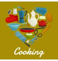 Cooking heart of kitchenware and utensils vector image vector image