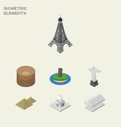 isometric travel set of india mosque rio vector image vector image
