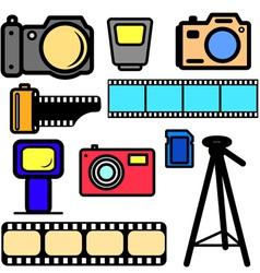 set of cameras vector image vector image