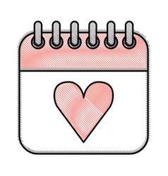 Calendar with heart icon vector