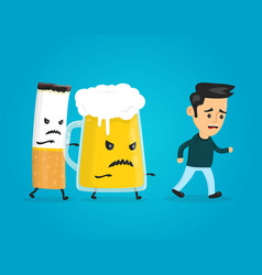 glass of beer and cigarette chasing a man vector image vector image