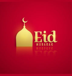 golden mosque on red background for eid festival vector image vector image