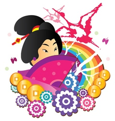 japanese collage vector image vector image