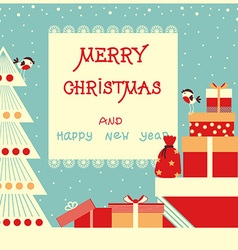 Merry christmas background with text and holiday vector image