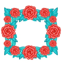 Rectangle wreath frame with red roses and leaves vector image vector image