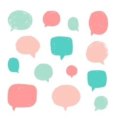 Set of speech bubbles with old grunge texture vector image