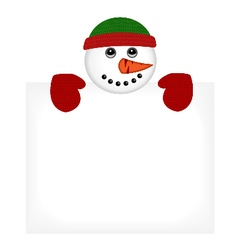 Snowman wearing knitted hat and gloves vector