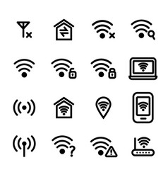wifi wreless black thin line icon set vector image vector image