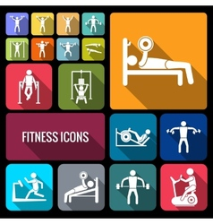 Workout training icons set flat vector image