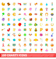 100 charity icons set cartoon style vector