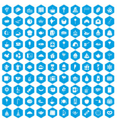 100 tea party icons set blue vector image