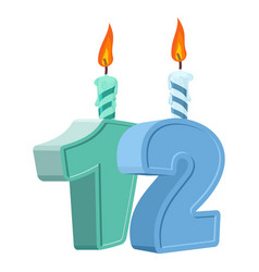 12 years birthday number with festive candle vector
