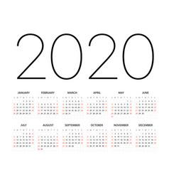 2020 year calendar template editable layout vector