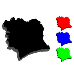 3d map of ivory coast vector image