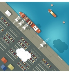 A cargo port in flat style Top vector