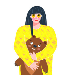 Adult young woman holding a teddy bear portrait vector