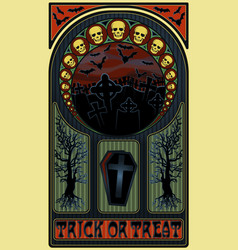 art nouveau halloween banner with skulls vector image