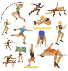 athlete man and woman seamless pattern vector image