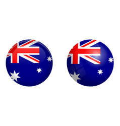 australian flag under 3d dome button and on vector image