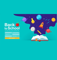 Back to school book web banner poster flat vector
