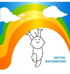 background of joyful baby holds rainbow vector image
