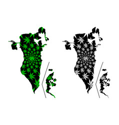 Bahrain - map is designed cannabis leaf vector