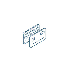 Bank card isometric icon 3d line art technical vector