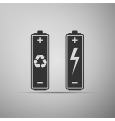 Battery with recycle-renewable energy concept icon vector