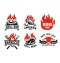 bbq emblem on fire set for menu and cafe vector image