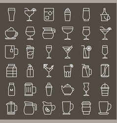 beverage and glass set vector image
