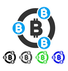 Bitcoin collaboration flat icon vector