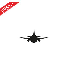 black airplane icon with shadow isolated on gray vector image