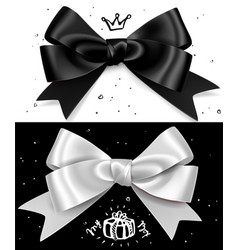 Black and white gift bows satin isolated glamour vector