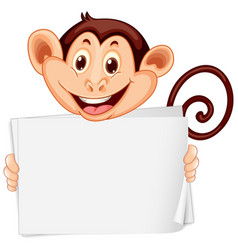 Blank sign template with happy monkey on white vector
