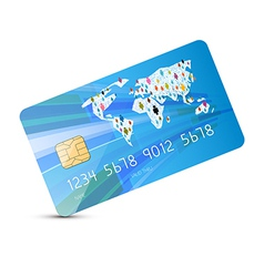 Blue Credit Card Isolated on White Backgroun vector image