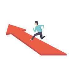 businessman running to his goal along red arrow vector image