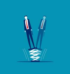 Businessman standing on springboard business vector