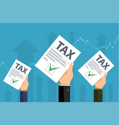 Businessmen are holding tax declarations in hands vector
