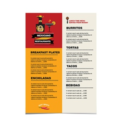 Cafe menu mexican template design vector image