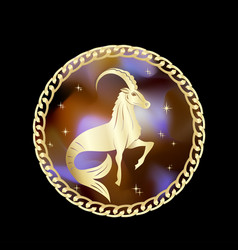 capricorn zodiac sign in circle frame vector image
