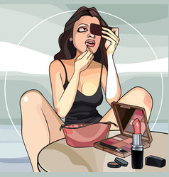 Cartoon woman paints her lips getting ready for a vector