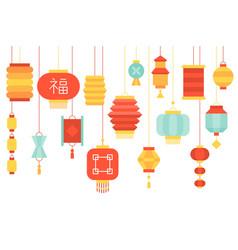 Chinese lantern paper hanging vector