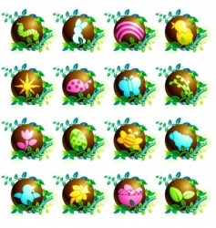 Chocolate spring icons vector