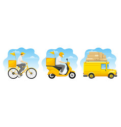 delivery service designs set vector image