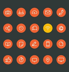 Different line style icons on color circles set vector image