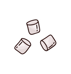 Doodle marshmallow icon hand drawn set color vector