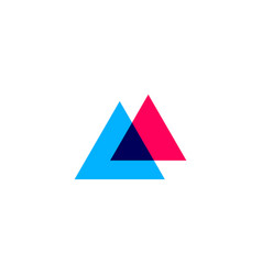 double triangle overlapping logo icon vector image