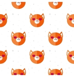 Flat cartoon fox in love seamless pattern vector